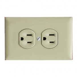 PLACA DOBLE ELECTRICA P/TOMA P&S MARFIL