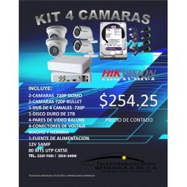KIT DE 4 CAMARAS HIKVISION 720P